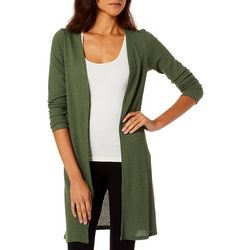 C'est La Vie Womens Solid Open Front Long Sleeve Cardigan