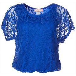 C'est La Vie Womens Solid Lace Dolman Short Sleeve Top