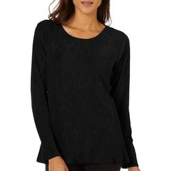 Cable & Gauge Womens Solid Textured Long Sleeve Top