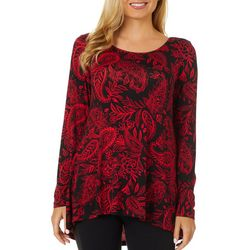 Cable & Gauge Womens Floral Paisley Print Round Neck Top