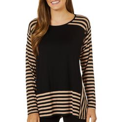 Cable & Gauge Womens Mixed Stripe Long Sleeve Top