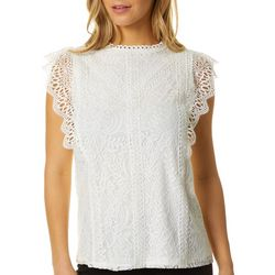 Cable & Gauge Womens Solid Lace Detail Short Sleeve Top
