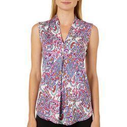 Cable & Gauge Womens Paisley Print Sleeveless Top