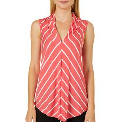 Cable & Gauge Womens Diagonal Stripe Print Sleeveless