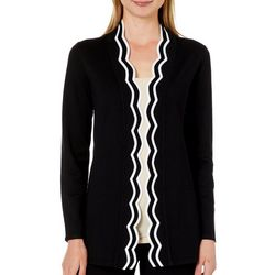Cable & Gauge Womens Scalloped Contrast Trim Cardigan