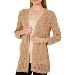 Cable & Gauge Womens Crochet Open Front Cardigan