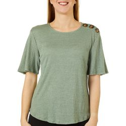 Cable & Gauge Womens Solid Button Detail Top