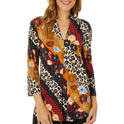 Cable & Gauge Womens Mixed Floral Print V-Neck
