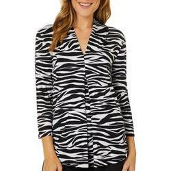 Cable & Gauge Womens Zebra Print V-Neck Pleated Top