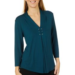 Cable & Gauge Womens Grommet Accent Pleated Top