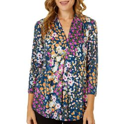 Cable & Gauge Womens Floral Print V-Neck Pleated Top