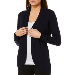 Cable & Gauge Womens Solid Ribbed Trim Cardigan