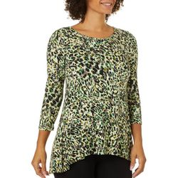 Cable & Gauge Womens Vibrant Leopard Print Round Neck Top