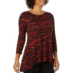 Cable & Gauge Womens Zebra Print Round Neck Top