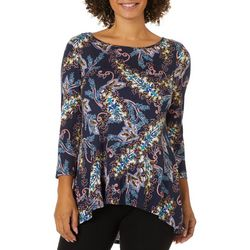 Cable & Gauge Womens Paisley Print Round Neck Top