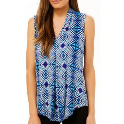 Cable & Gauge Womens Geometric Print Sleeveless Top