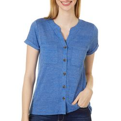 Cable & Gauge Womens Solid Button Down Chest Pocket Top