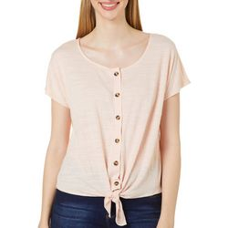 Cable & Gauge Womens Solid Button Down Tie Front Top