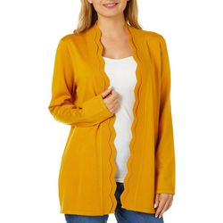 Cable & Gauge Womens Solid Scallop Edge Cardigan