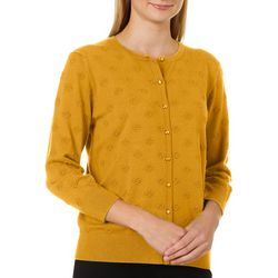 Cable & Gauge Womens Solid Embroider Puff Cardigan