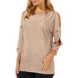 Cable & Gauge Womens Solid Open Sleeve Top