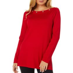 Cable & Gauge Womens Embellished Boat Neck Top