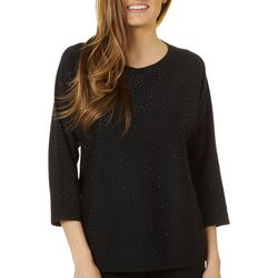 Cable & Gauge Womens Solid Jewel Embellished Top