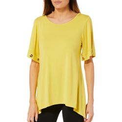 Cable & Gauge Womens Grommet Sleeve Sharkbite Hem Top