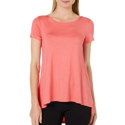 Cable & Gauge Womens Button Back High-Low Top