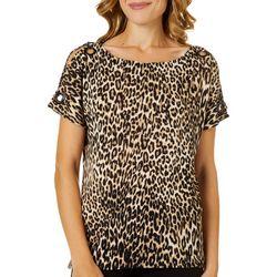Cable & Gauge Womens Leopard Print Grommet Accent Top