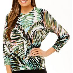 Cable & Gauge Womens Palm Leaf Button Down Cardigan