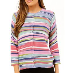 Cable & Gauge Womens Striped Button Down Cardigan