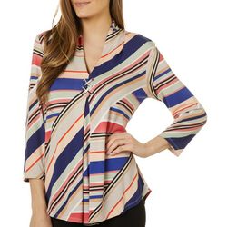 Cable & Gauge Womens Striped Grommet Accent Pleated Top