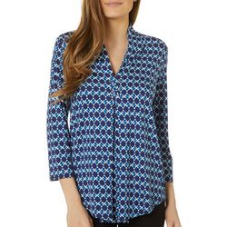 Cable & Gauge Womens Geometric Grommet Accent Pleated Top