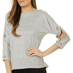 Cable & Gauge Womens Solid Grommet Detail Boat Neck Top