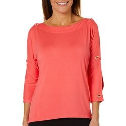 Cable & Gauge Womens Solid Caged Sleeve Top