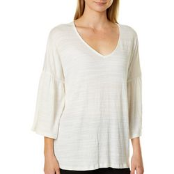 Cable & Gauge Womens Solid Crinkle Texture Bell Sleeve Top