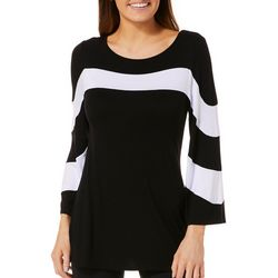 Cable & Gauge Womens Colorblock Striped Bell Sleeve Top