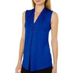 Cable & Gauge Womens Solid Lace-Up Sleeveless Top