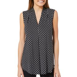 Cable & Gauge Womens Polka Dot Sleeveless Top