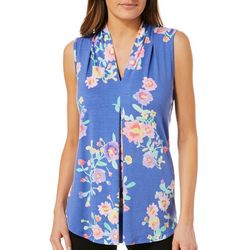 Cable & Gauge Womens Floral Print Sleeveless Top