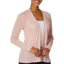 Cable & Gauge Womens Solid Pointelle Open Front Cardigan