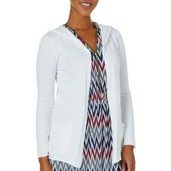 Cable & Gauge Womens Solid Hooded Open Front Cardigan