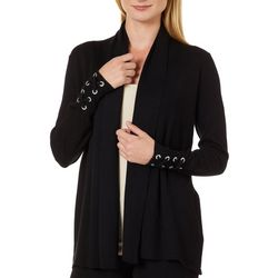 Cable & Gauge Womens Solid Lace-Up Sleeve Cardigan