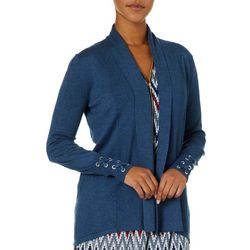 Cable & Gauge Womens Open Front Lace-Up Sleeve Cardigan