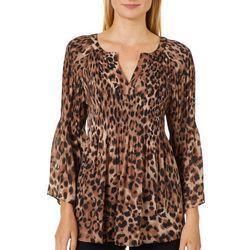 Spense Womens Leopard Print Pleated Bell Sleeve Top