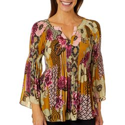 Spense Womens Floral Print Pleated Bell Sleeve Top