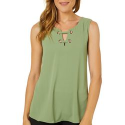Melissa Paige Womens Lattice V-Neck Sleeveless Top