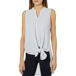 Spense Womens Dotted Tie Front High-Low Top