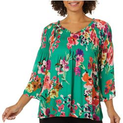 Spense Womens Floral Print Smocked V-Neck Top